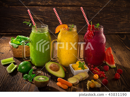 Healthy fresh smoothies with ingredients. 43831190