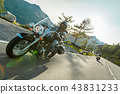 Motorcycle drivers riding in Alpine highway on famous Hochalpenstrasse, Austria, Europe. 43831233