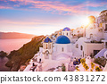 Sunset view of the blue dome churches of Santorini, Greece. 43831272