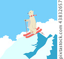 Cute Polar Bear Happy  skiing  on a mountain 43832657