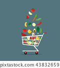 vegetables in shopping cart Flat Style Vector 43832659