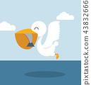Pelican eating fish in sea 43832666
