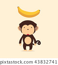 Cute monkey with banana 43832741