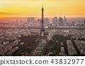 Paris skyline with Eiffel Tower at sunset in Paris 43832977