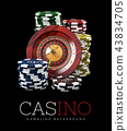 Roulette with Chips, Casino concept, 3d Illustration of Casino Games Elements 43834705