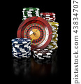 Roulette with Chips, Casino concept, 3d Illustration of Casino Games Elements 43834707