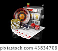 Slot machine with jackpot, Casino concept, 3d Illustration of Casino Games Elements 43834709