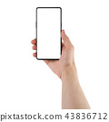 Young man hand holding bezel-less smartphone white screen isolated on white background 43836712