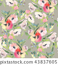 floral, flower, watercolor 43837605