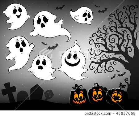 Halloween image with ghosts theme 3 - Stock Illustration