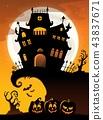 Halloween house silhouette theme 3 43837671