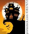 Halloween house silhouette theme 2 43837672