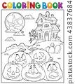 Coloring book Halloween pumpkins pile 2 43837684