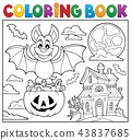 Coloring book Halloween bat theme 2 43837685