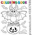 Coloring book Halloween bat theme 1 43837686