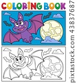 Coloring book cartoon bat 1 43837687