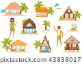 Summer beach houses set, people enjoying tropical summer vacation vector Illustration on a white 43838017