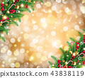 Christmas garland in rich golden bokeh background 43838119