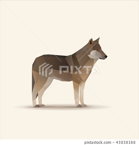 Polygonal vector illustration of wolf 43838168
