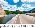 Lake and dam on Arges river in Transylvania 43838797