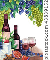 Watercolor wine glasses and bottles decorated with delicious food 43839152