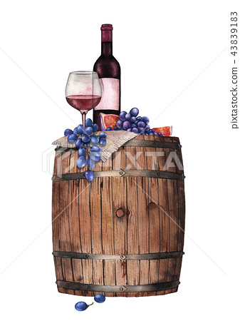 Watercolor glass of red wine, bottle, grapes and figs on the wooden barrel 43839183