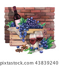 Watercolor red wine glasses, bottle in the box of blue grapes 43839240