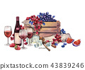 Watercolor red wine glasses and bottle decorated with delicious food 43839246