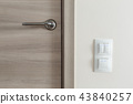 Door handle and white lighting switches on wall 43840257