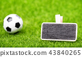 Soccer ball and mockup board on green grass 43840265