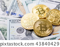 Bitcoins on dollar banknotes background 43840429