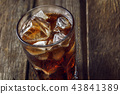 A glass with ice and cola. 43841389