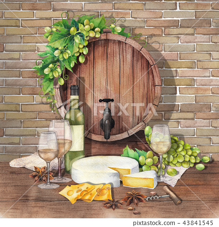 Watercolor barrel with wine glasses and bottle, cheese and grapes 43841545