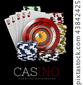 Roulette with Chips and Poker Card, Casino concept, 3d Illustration of Casino Games Elements 43842425