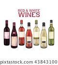 葡萄酒 红酒 水彩画 43843100