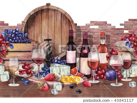 Watercolor wine glasses and bottles decorated with delicious food 43843117