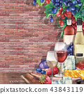 Watercolor wine glasses and bottles decorated with delicious food 43843119