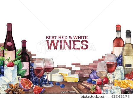 Watercolor wine glasses and bottles decorated with delicious food 43843178