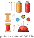 Realistic Detailed 3d Sewing Supplies for Tailoring and Needlework Set. Vector 43843734
