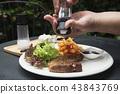 猪肉 牛排 沙拉 43843769