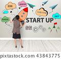 Business women hand write startup new ideas 43843775