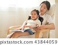 坐在窗口的母亲和女儿 43844059