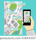 Mobile phone flat design and map application 43844397