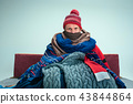 Bearded Man with Flue Sitting on Sofa at Home. Healthcare Concepts. 43844864