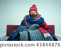 Bearded Man with Flue Sitting on Sofa at Home. Healthcare Concepts. 43844876