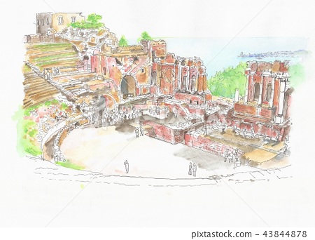 Skyline of the World Heritage Site-Greek theaters of Italy, Sicily, Taormina 43844878