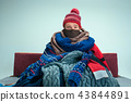 Bearded Man with Flue Sitting on Sofa at Home. Healthcare Concepts. 43844891