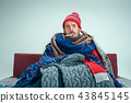 Bearded Man with Flue Sitting on Sofa at Home. Healthcare Concepts. 43845145