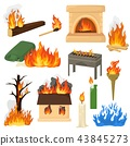 Fire flame vector fired flaming bonfire in fireplace and flammable campfire illustration fiery set 43845273