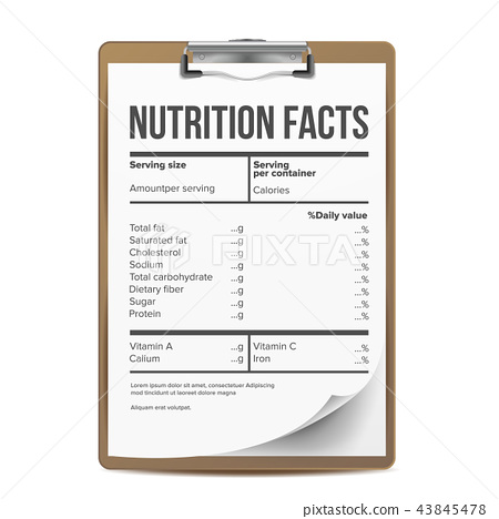 Nutrition Facts Vector. Blank, Template. Serving. Healthy. Fitness Healthy Dietary Supplement 43845478